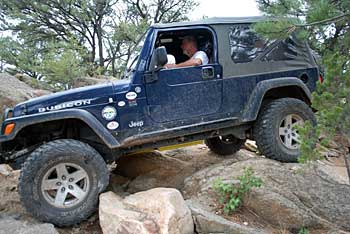 Rock crawling at Chinaman Gulch trail near Salida, Colorado