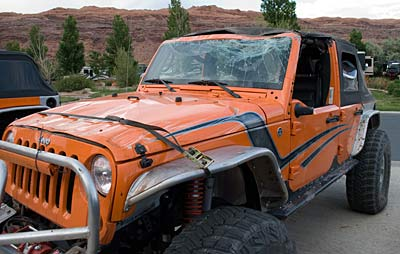 This is what a totaled custom Jeep looks like after a big oopsie