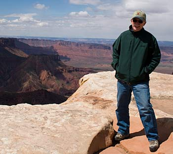 John on an overlook in Moab - it snowed on us (this is early May!)