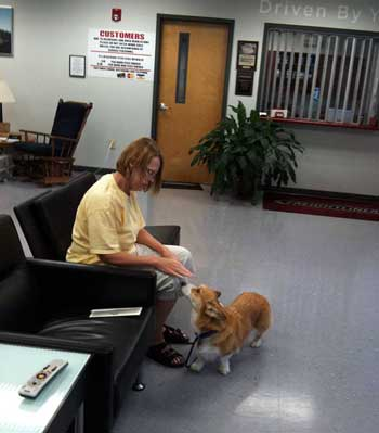 Jane and Sassy at the Freightliner customer waiting lounge