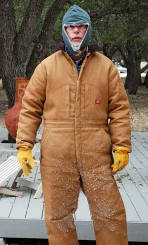 John dressed for cold weather