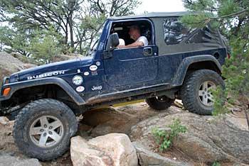 Rock crawling at Chinaman Gulch trail near Salida, Colorado